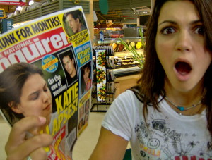 Shocked Girl w Tabloid
