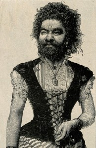 V0007254 Senora Pastrana, a bearded lady. Reproduction of a wood